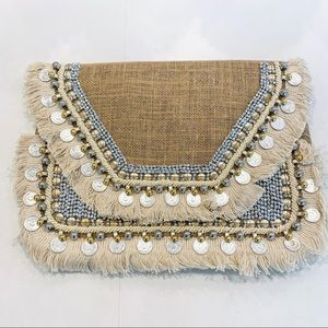 Handmade clutch with beads tassels and coins